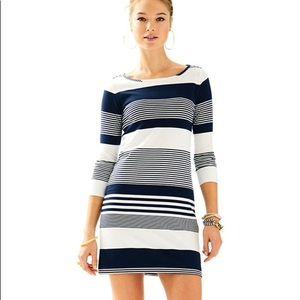 Lilly Pulitzer Marlowe Boatneck Navy Stripe Dress